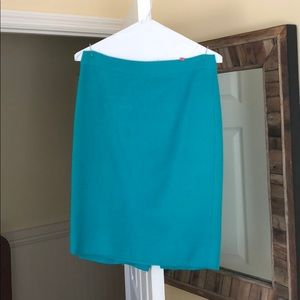 J. Crew teal wool pencil skirt